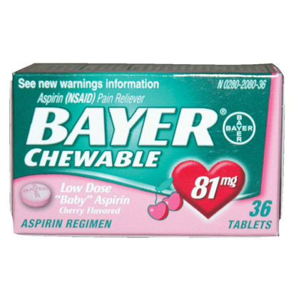 Picture of Bayer Chewable Aspirin Tablets 81mg Cherry 36/Ct