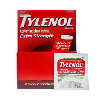 Picture of Extra Strength Tylenol 500mg 50 Packets of 2 100/Ct